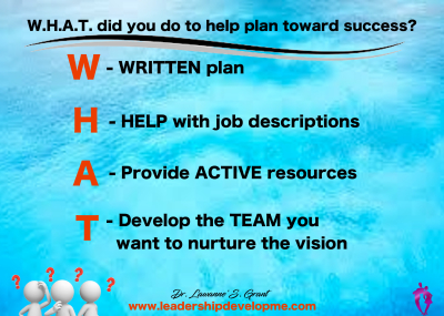 W.H.A.T. did you do to help plan toward success?